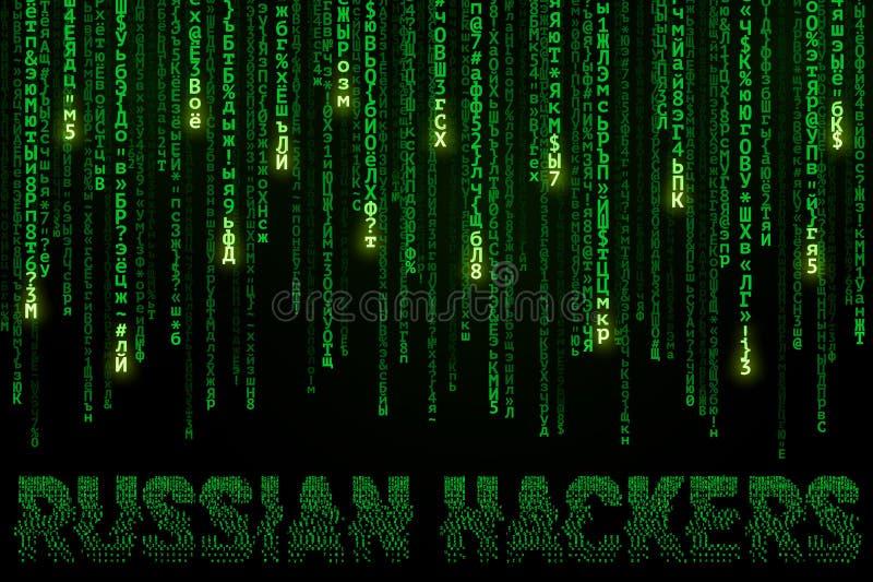 Tło z spada cyrillic symbolami i wpisowymi Rosyjskimi hackerami ilustracja wektor