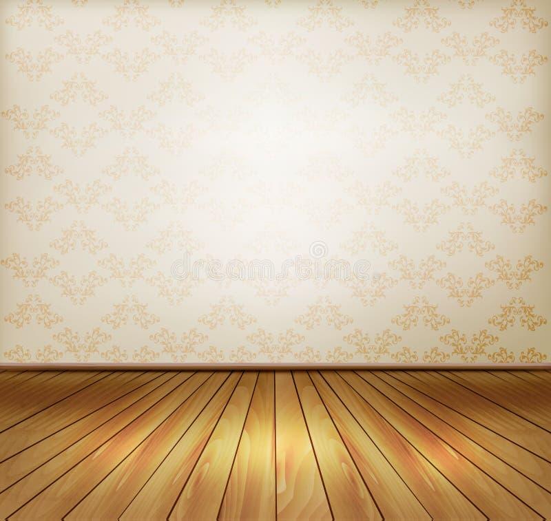 Tło z starą ścianą i drewnianą podłoga. ilustracji
