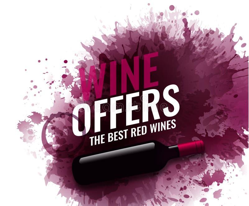 Tło z wina plam, czerwieni i białego winem, Ilustracja odosobniona wino butelka Tło dla sztandarów i promocyjny ilustracja wektor