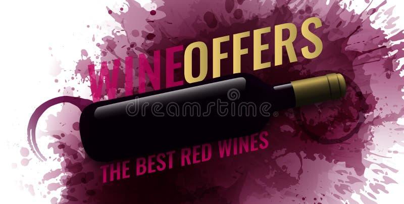 Tło z wino plamami, czerwone wino Ilustracja odosobniona wino butelka Tło dla sztandarów i promocyjnych plakatów ilustracji