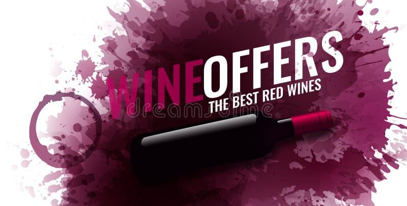 Tło z wino plamami, czerwone wino Ilustracja odosobniona wino butelka Tło dla sztandarów i promocyjnych plakatów ilustracja wektor
