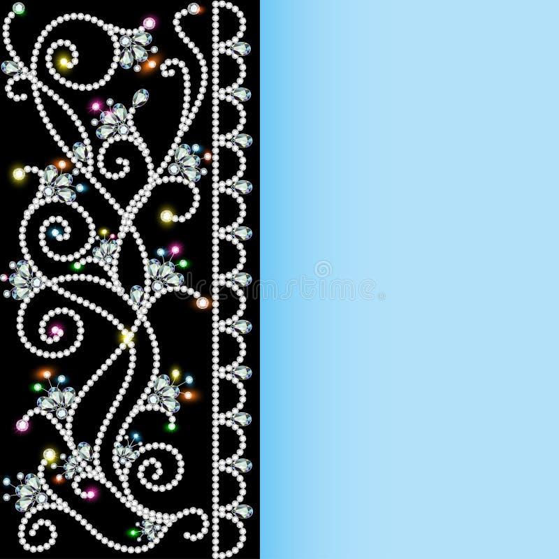 Tło z wzorem cenni kamienie i kwiaty ilustracji