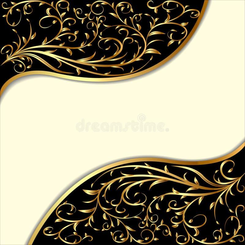 Tło z złocistym ornamentem i fala ilustracji