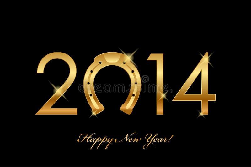 2014 tło z złocistym podkowy szczęściem na dobre (rok o royalty ilustracja