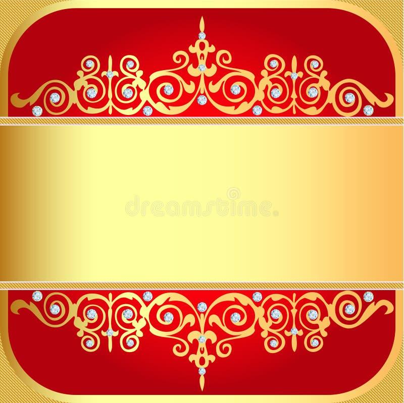 Tło z złoto ornamentami i cennymi kamieniami royalty ilustracja