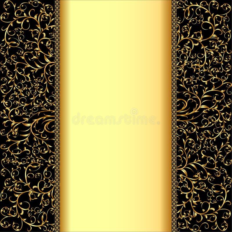 Tło z złoto paskiem dla teksta i ornamentami royalty ilustracja
