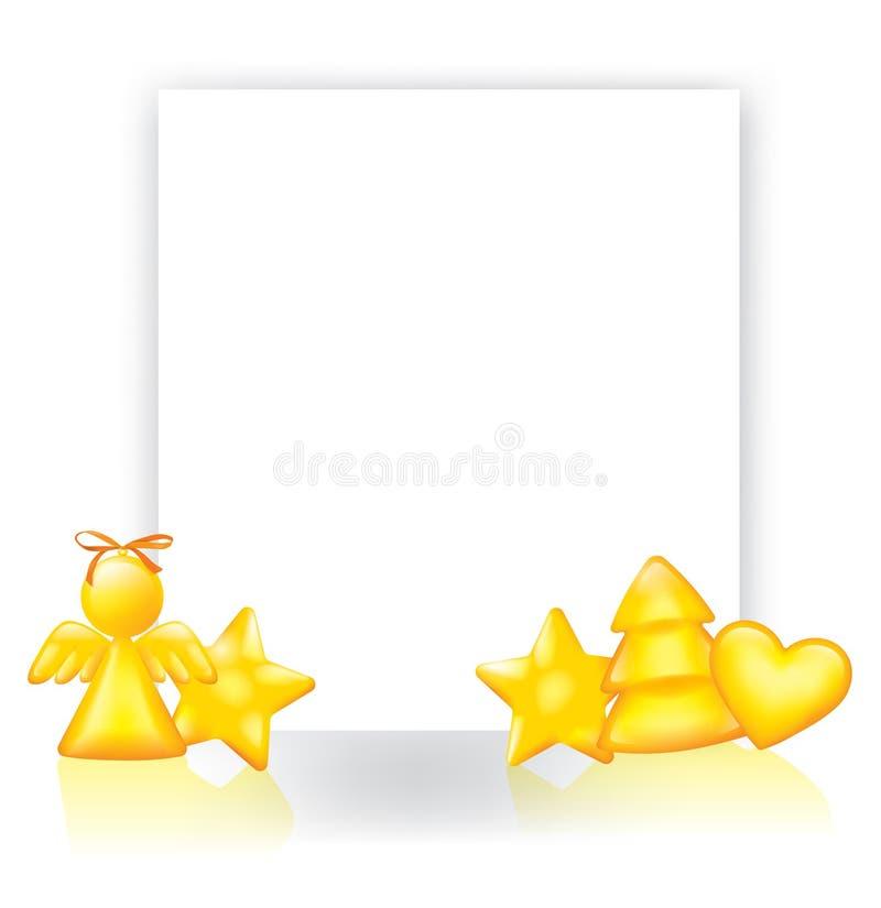 Tło z złotymi Bożenarodzeniowymi dekoracjami royalty ilustracja