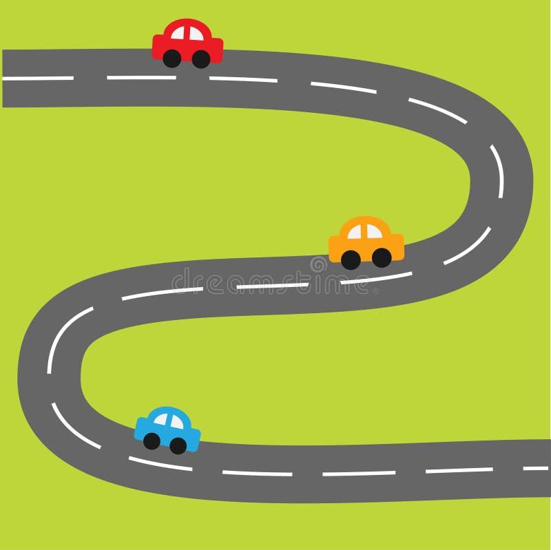 Tło z zygzakowatymi drogi i kreskówki samochodami ilustracja wektor