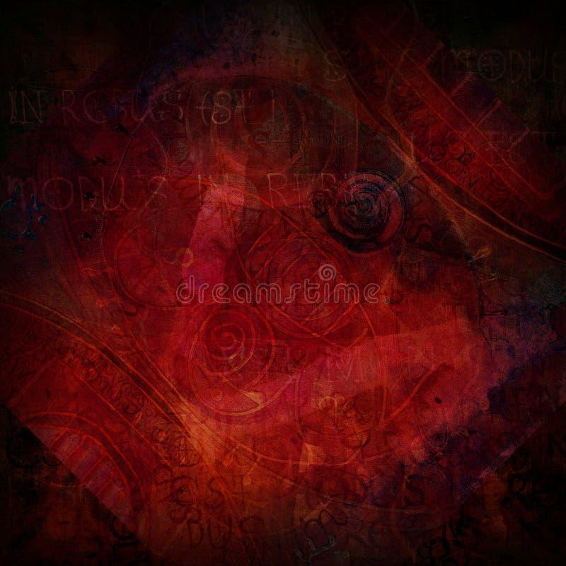 tło zmrok - czerwony rocznik ilustracja wektor