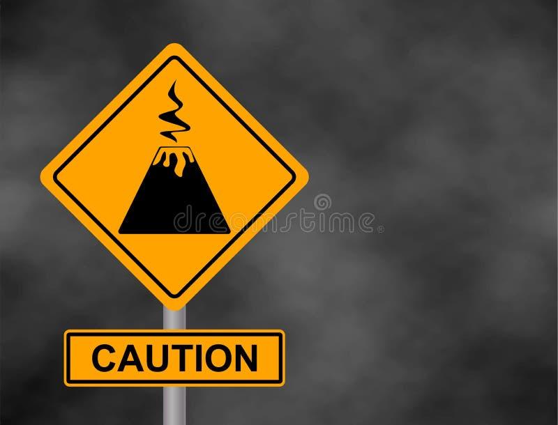 Tło zmroku popielaty niebo z cumulus chmurami i żółty drogowy znak z teksta niebezpieczeństwa wulkanem Bord ostrożność powulkanic royalty ilustracja