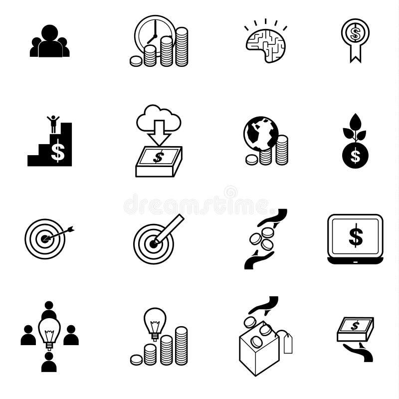 Tłoczy się finansowanie i inwestować ikona ustawiającą wektorową ilustrację royalty ilustracja