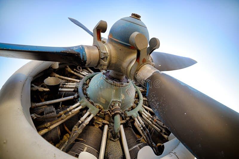 Tłokowy samolotu silnik, śmigło obrazy stock