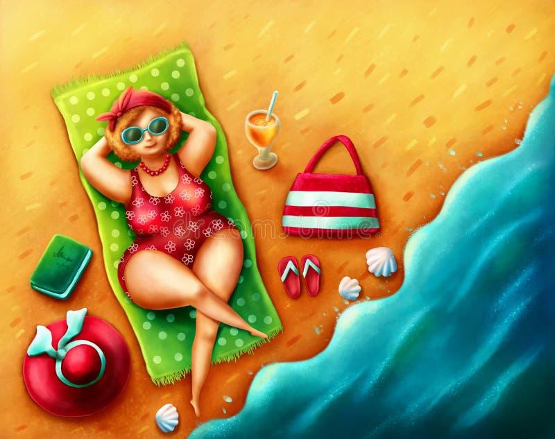 Tłuściuchna kobieta na plaży ilustracja wektor