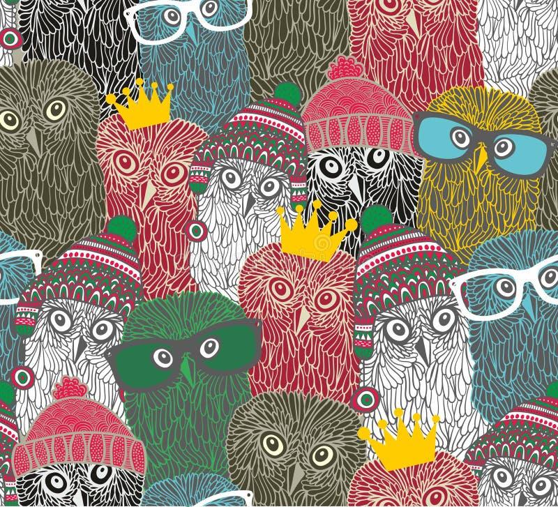 Tłum śliczna doodle sowa ilustracja wektor
