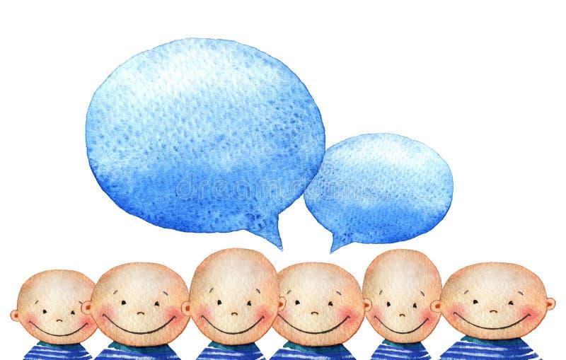 Tłum śliczna uśmiechnięta chłopiec w błękitnych pasiastych koszulkach Akwareli tło z tłumem uśmiechnięci ludzie stawia czoło ilustracji