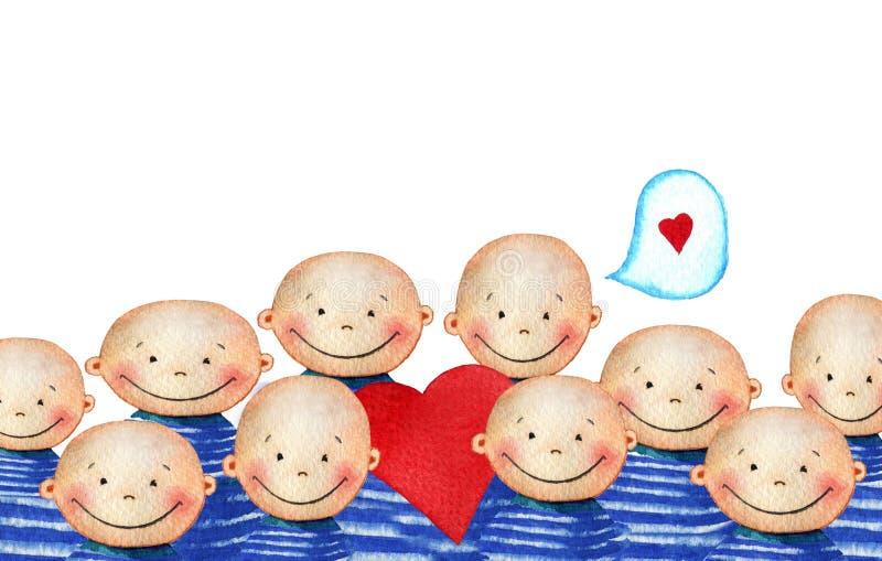 Tłum śliczny uśmiechnięty chłopiec mienia serce ilustracji