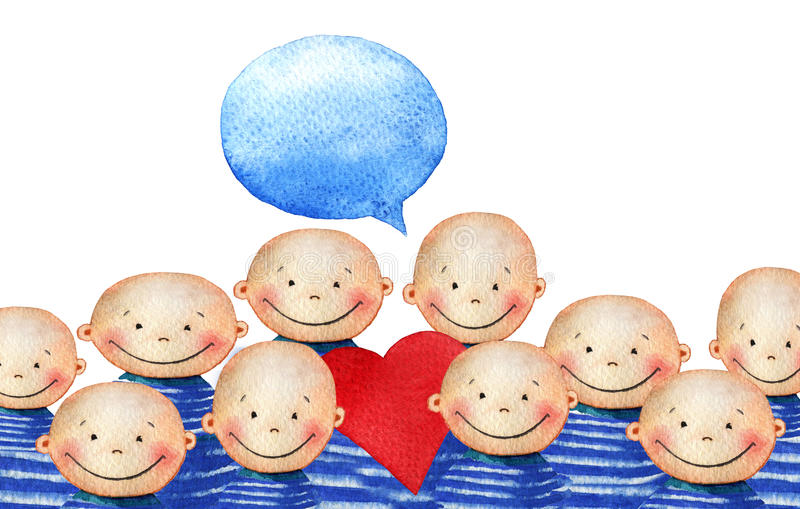 Tłum śliczny uśmiechnięty chłopiec mienia serce royalty ilustracja