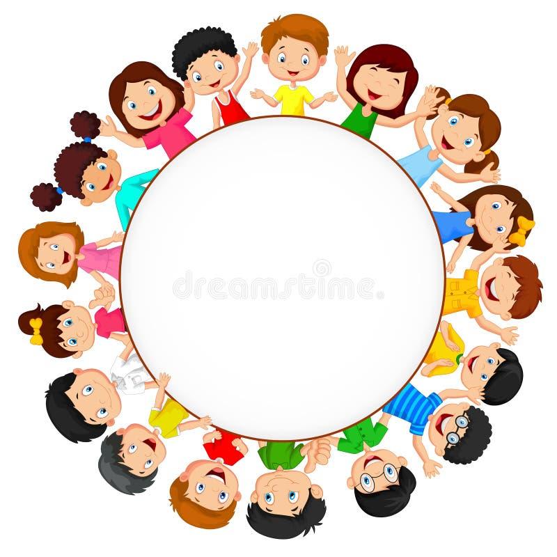 Tłum dziecko kreskówka z pustą przestrzenią ilustracja wektor