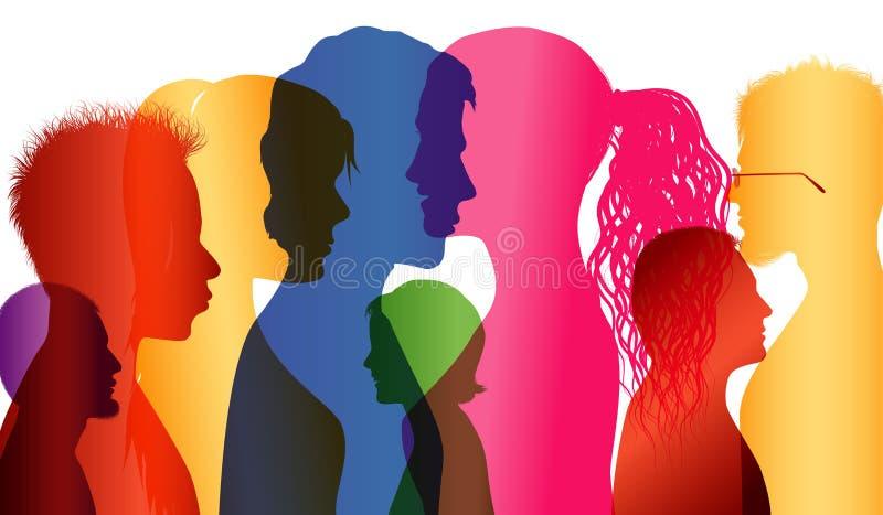 tłum grupa ludzi Komunikacja między ludźmi Barwioni shilouette profile ilustracji