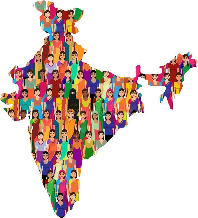 Tłum Indiańscy kobieta wektoru avatars ilustracja wektor