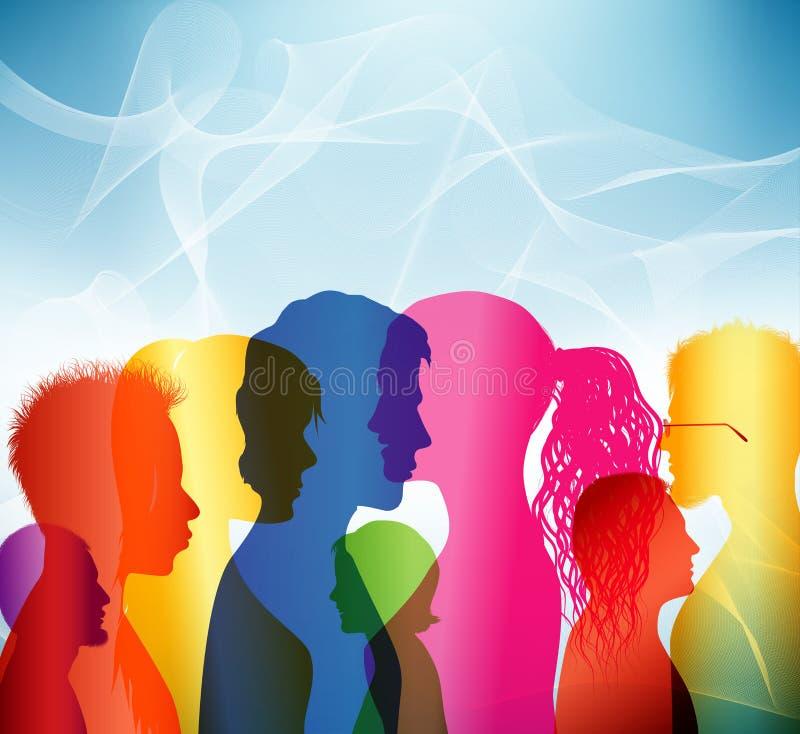 tłum Komunikacja między ludźmi grupa ludzi Barwioni shilouette profile ilustracji
