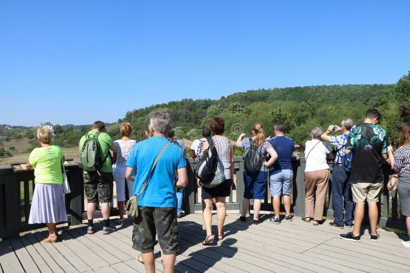 Tłum ludzie stoi nad żyrafy expoisiton w zoo Pra obraz stock