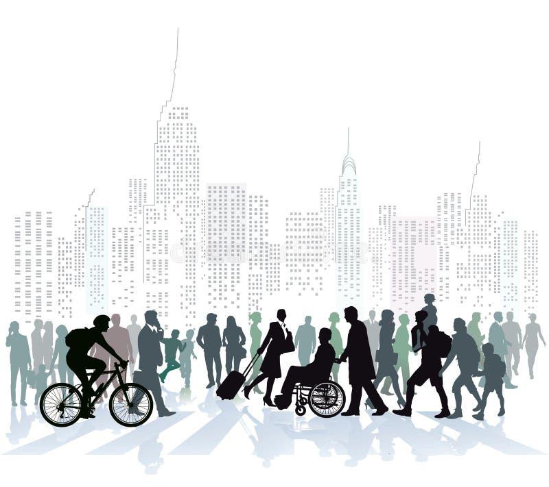 Tłum ludzie w miasto linii horyzontu royalty ilustracja