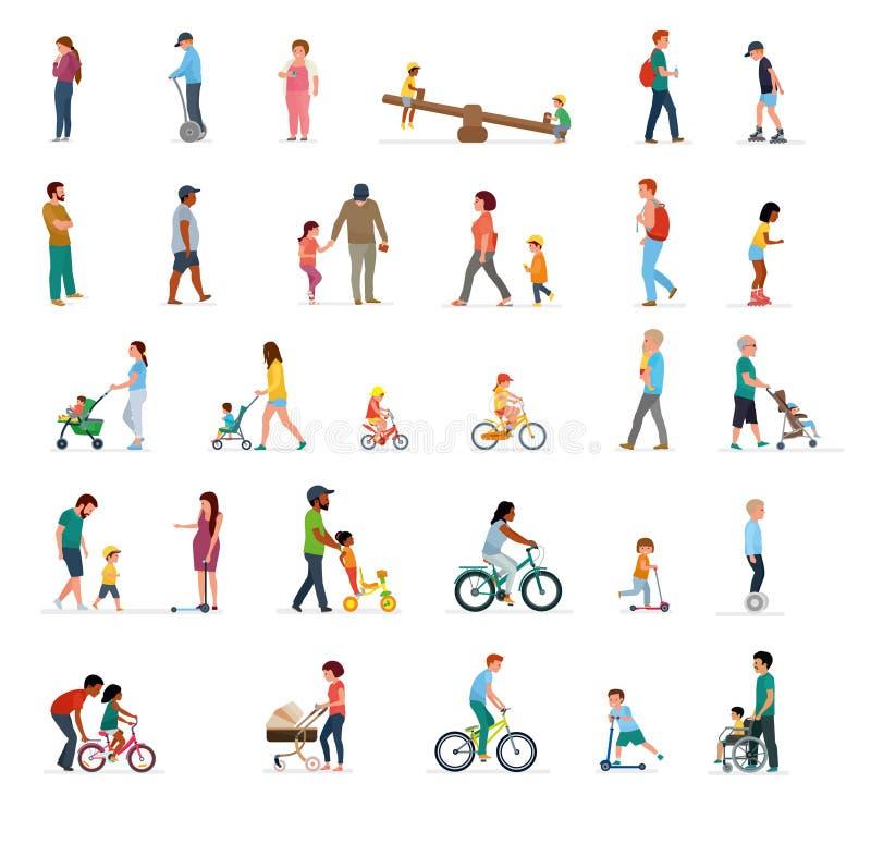 Tłum ludzie wykonuje lato plenerowe aktywność - chodzi, jadący bicykl, jeździć na deskorolce Grupa samiec i kobieta i royalty ilustracja