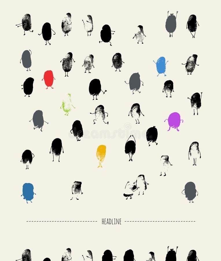 Tłum - odcisków palca charaktery royalty ilustracja