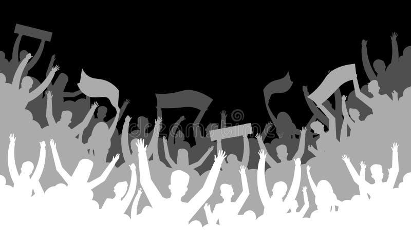 Tłum sylwetki tło Piłki nożnej fan baseballa koszykówki futbolowego handball widowni hokejowej trybuny ludzie wektor royalty ilustracja
