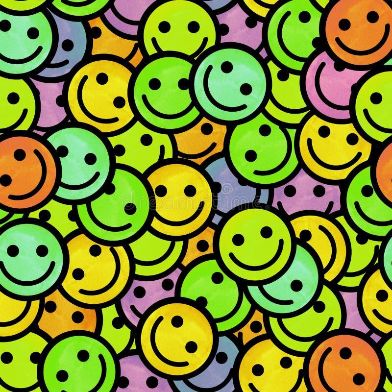 Tłum Uśmiechnięci emoticons Uśmiech ikony wzór ilustracji