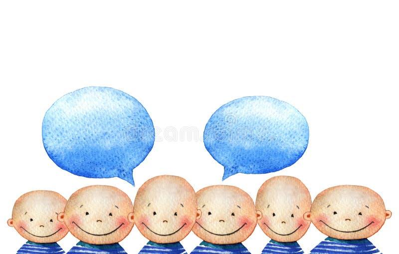 Tłum uśmiechnięte chłopiec z bąblami dla swój teksta ilustracji