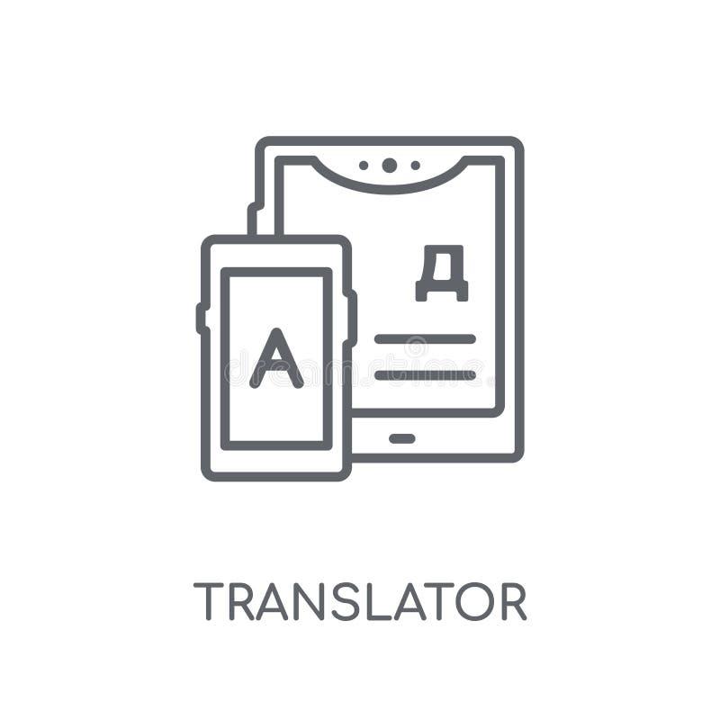 Tłumacz liniowa ikona Nowożytny konturu tłumacza logo pojęcie o royalty ilustracja