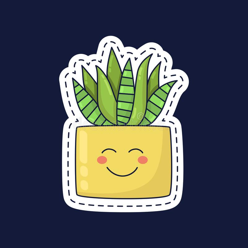 Tłustoszowaty roślina aloes w garnku z uśmiechu wektoru ilustracją ilustracja wektor