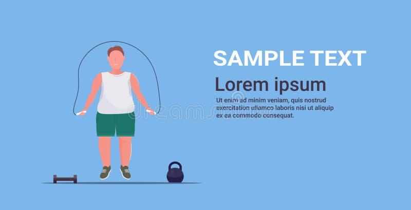 Tłusty otyły mężczyzna wykonujący ćwiczenia z przeskakującym facetem z nadwagą ćwiczył koncepcję utraty wagi na całej długości ilustracji