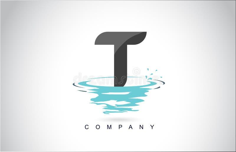 T信件与水飞溅的商标设计起波纹下落反射 向量例证