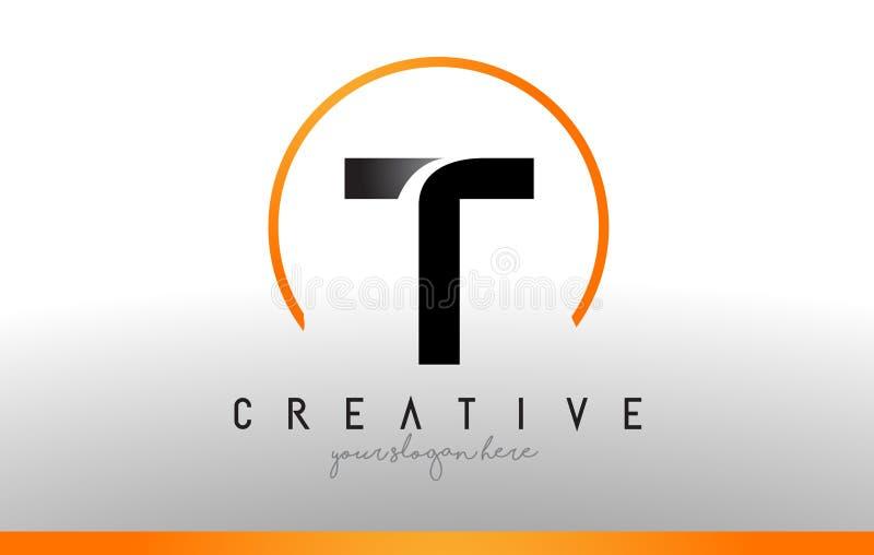 T信件与黑橙色颜色的商标设计 凉快的现代象T 库存例证