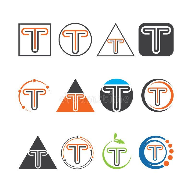 T信件商标企业模板传染媒介象、商标标志传染媒介,信件商标和标志 库存例证