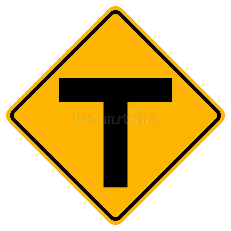 T形连接交通路标,传染媒介例证,在白色背景,标志,象的孤立 EPS10 向量例证