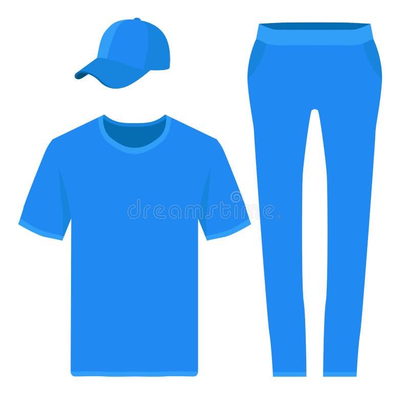 T恤杉、裤子和棒球帽设计模板 也corel凹道例证向量 库存例证