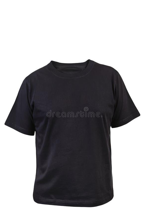 黑T恤杉。前面。 免版税库存图片