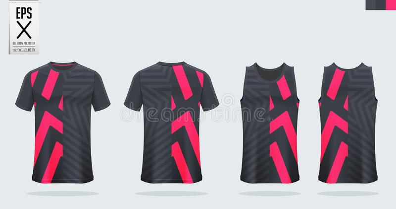 T恤杉体育大模型足球球衣、橄榄球成套工具、无袖衫篮球球衣的和连续汗衫的模板设计 皇族释放例证