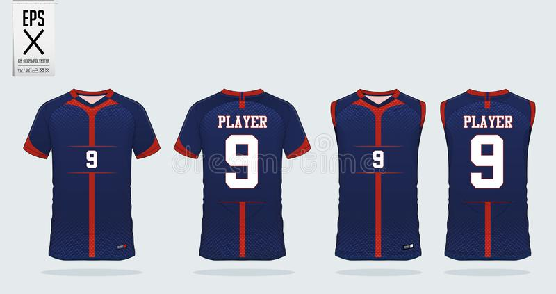 T恤杉体育足球球衣、橄榄球成套工具和无袖衫的设计模板篮球球衣的 在前面和后面看法的制服 向量例证