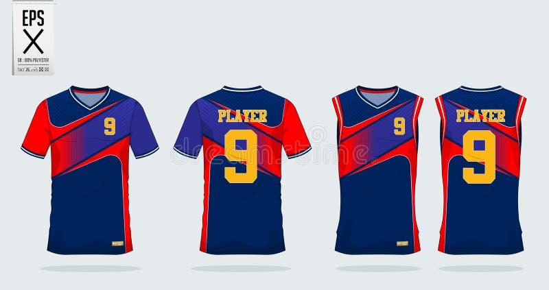 T恤杉体育足球球衣的,橄榄球成套工具,篮球球衣的无袖衫设计模板 在正面图后面视图的制服 向量例证