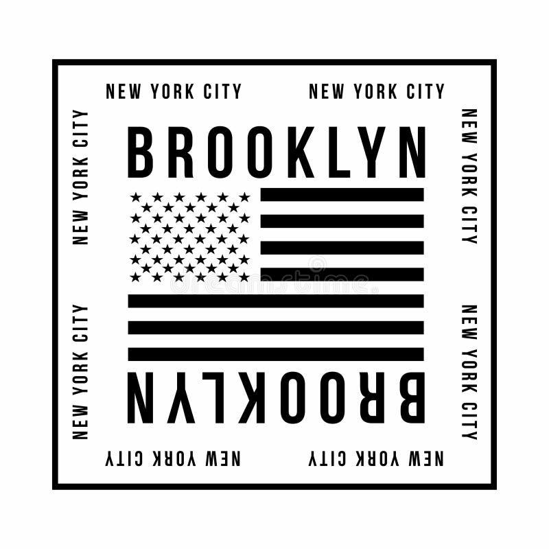 T恤杉印刷品的纽约,布鲁克林印刷术 在黑颜色的美国国旗 T恤杉图表 向量例证