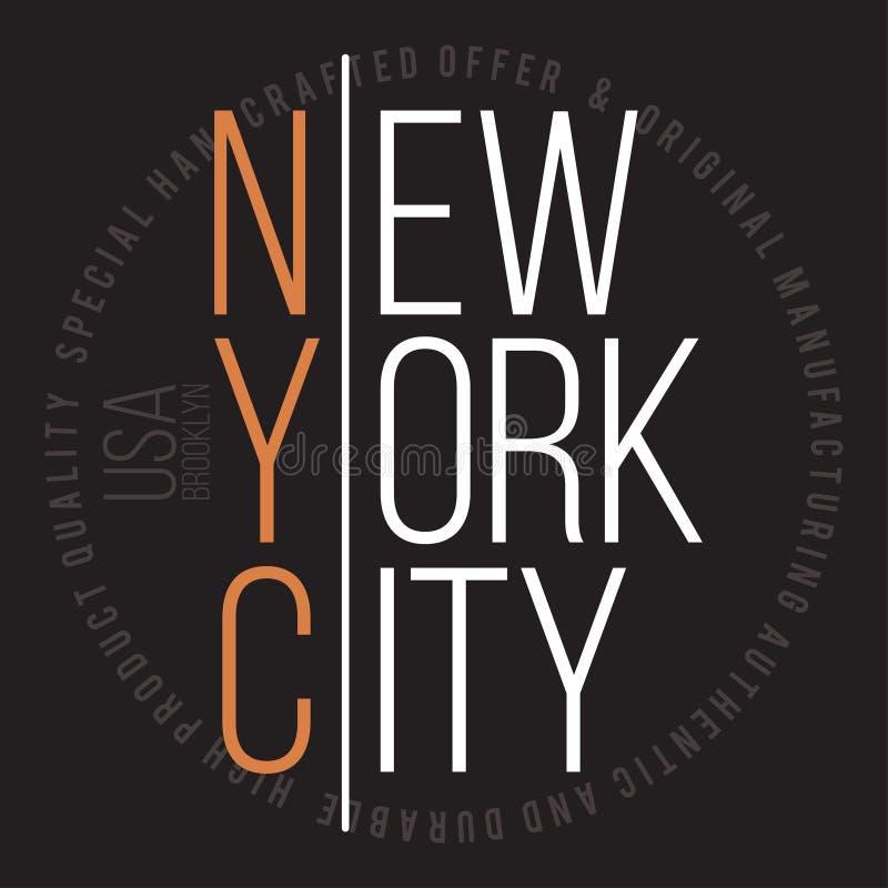 T恤杉印刷品的纽约,布鲁克林现代印刷术 T恤杉图表 皇族释放例证