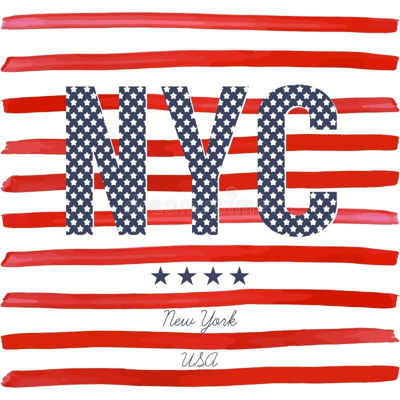 T恤杉印刷术设计, NYC打印图表、印刷传染媒介例证、纽约图形设计标签的或T恤杉p 皇族释放例证