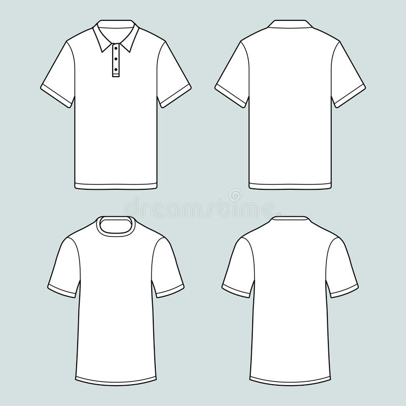 T恤杉和球衣whith模板短缺袖子 库存例证