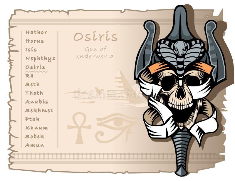 T恤杉和纹身花刺的模板在古老埃及神的题材 欧西里斯,地狱的神 向量例证