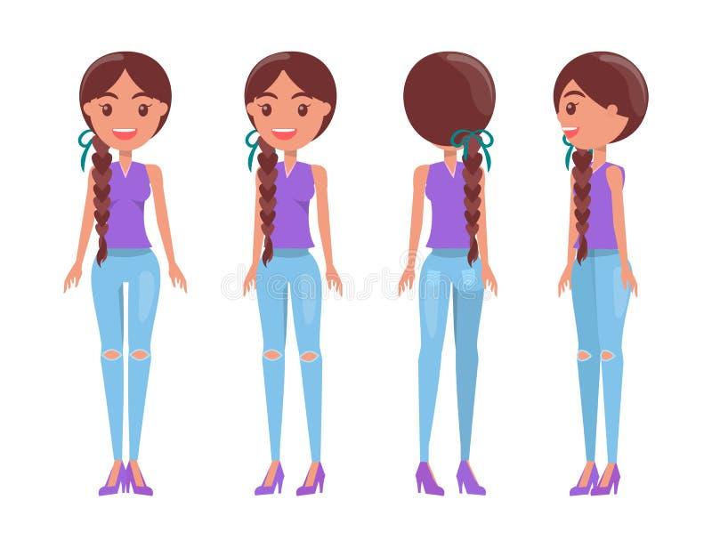 T恤杉和被剥去的牛仔裤的结辨的深色的女孩 向量例证